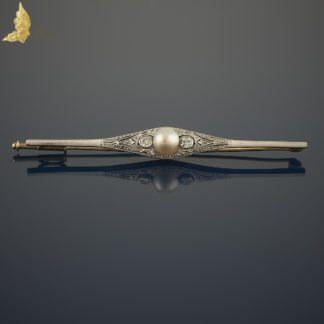 Brosza Art Deco z perłą i brylantami w białym i żółtym złocie 14K