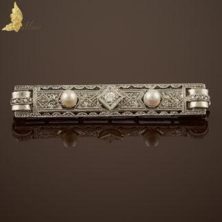 Brosza Art Deco z brylantami i perełkami w białym złocie 14K