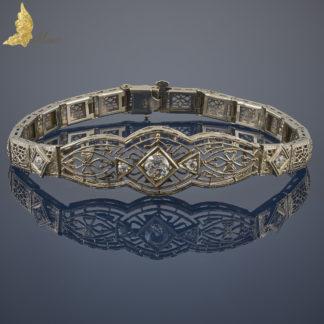 Ażurowa bransoleta Art Deco z 5 brylantami w 14K złocie