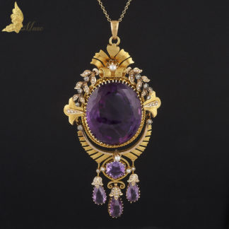 Wiktoriański wisior z ametystami, diamentami i perełkami w żółtym złocie 15K