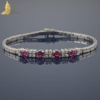 Współczesna bransoleta z rubinami i brylantami w białym złocie 14K