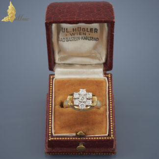 Pierścionek z 7 brylantami ok. 0,55 ct w 14K złocie