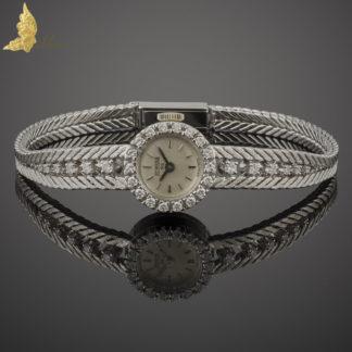 Brylantowy zegarek damski szwajcarskiej firmy H.Y. Moser w białym złocie 18K, I poł. XXw.