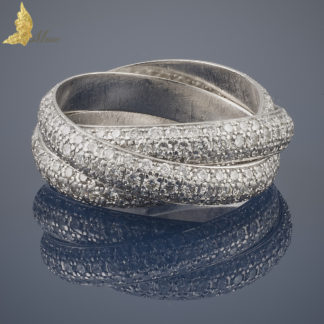 Potrójna obrączka z brylantami w oprawie pave ok. 3,70 ct w białym złocie 18K