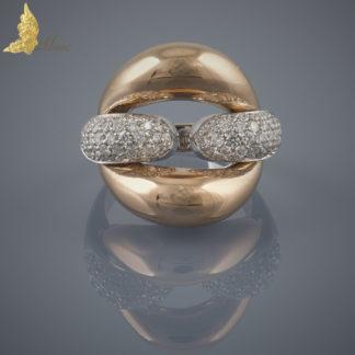 Francuski pierścionek z brylantami ok. 1 ct w białym i różowym złocie pr. 750