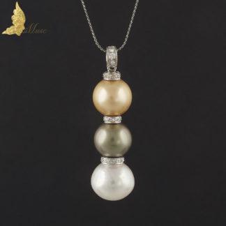 Zawieszka z 3 perłami Tahiti i South Sea i brylantami ok.0,60 ct w 18K białym złocie