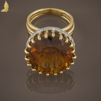 Francuski pierścionek Art Deco z 32 ct cyrkonem i brylantami w dawnym szlifie, w 18K żółtym złocie