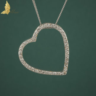 Zawieszka serce z brylantami ok. 0,60 ct w komplecie z łańcuszkiem w białym złocie 18K