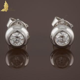 Kolczyki z brylantami 0,33 ct na sztyft w białym złocie 14K
