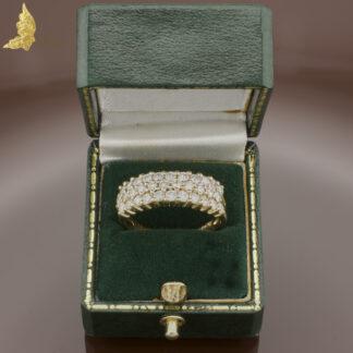 Pierścionek trzyrzędowy z brylantami ok. 1,50 ct w żółtym złocie 14K