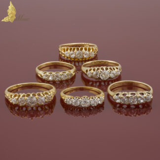 Wiktoriański pierścionek z pięcioma brylantami w żółtym złocie 18K